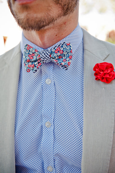 "2"" Cloth Bow Tie Reversible with a lapel flower"