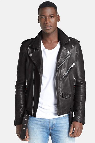 black man leather jacket