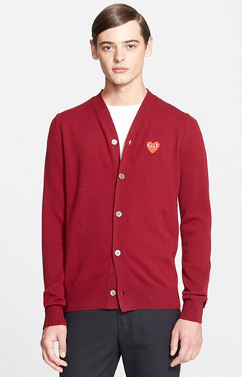 men's red sweater