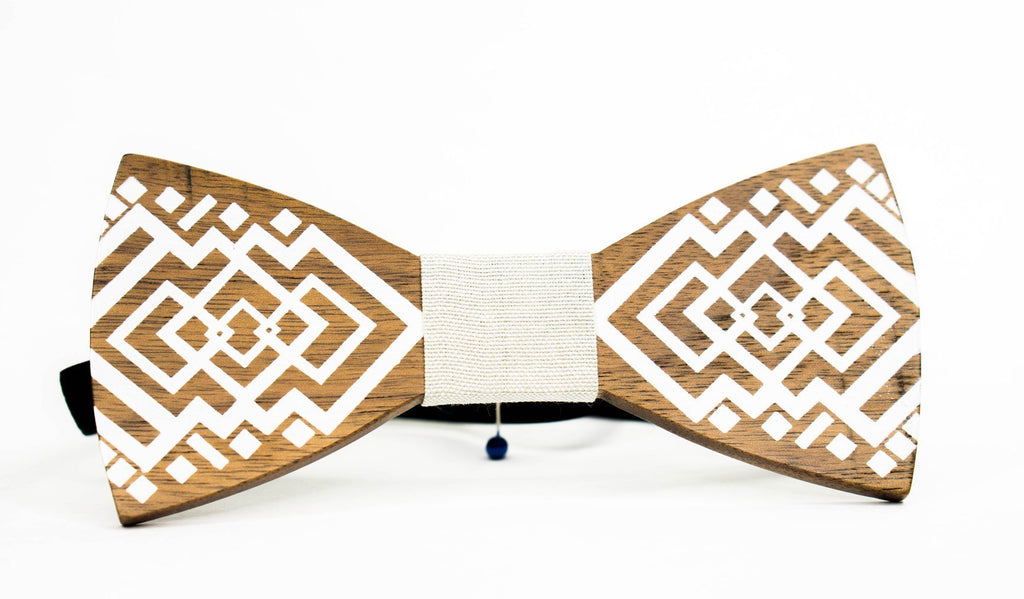 Wood Bow Tie | Brown | Laser Cut | White Inlay