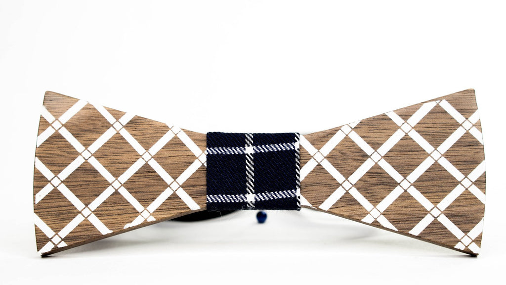 Wood Bow Tie | Laser Cut | Laser Engraved | White Inlay