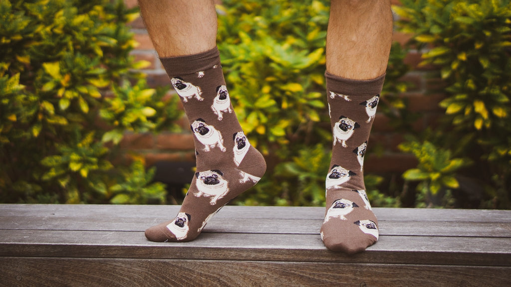 Percy the Pug Socks - Graphic Crew Dress Socks