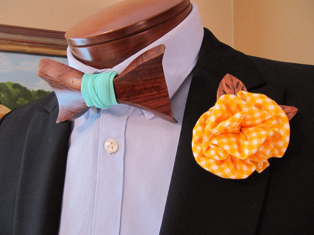 Lapel Flower - Yellow Gingham w/ Wood Leaves