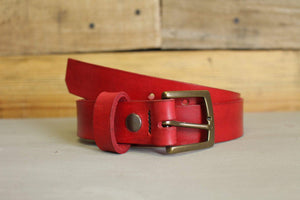 Ella Bing Leather Belts Red Leather Belt - The Red Tide