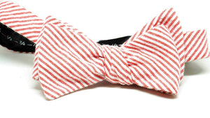 ELLA BING Red Seersucker Bow Tie