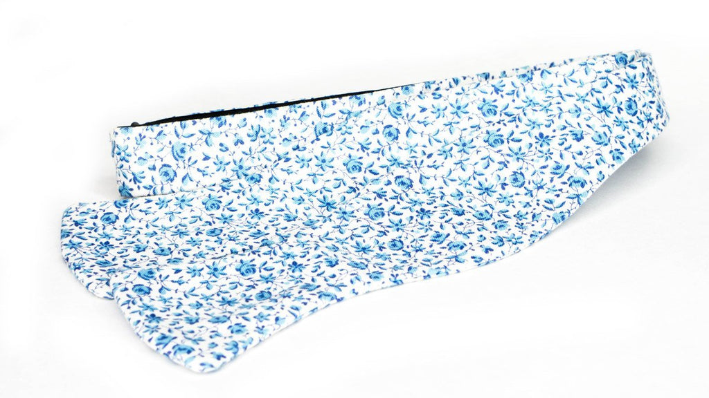 Blue Floral Cotton Bow Tie No. 450