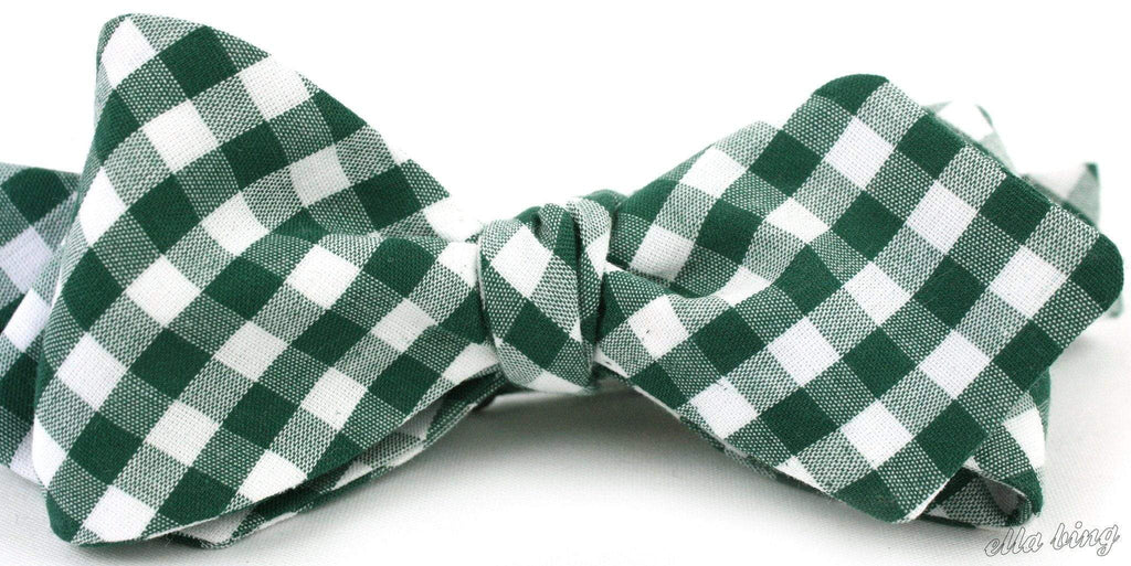 The Jack Winchester Green Check Cloth Bow Tie