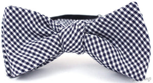 Ella Bing Signature Cloth Bow Ties The Jet Maddox Navy Gingham Cloth Bow Tie
