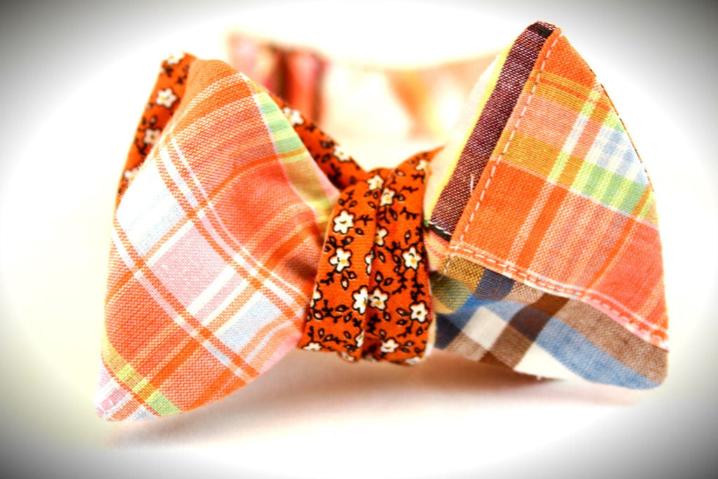 The Louis Bernard - Gingham/Madras Reversible Bow Tie