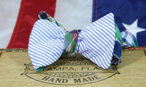 Ella Bing Signature Cloth Bow Ties The Waylon Thibodeaux - Madras/Seersucker Reversible Cloth Bow Tie