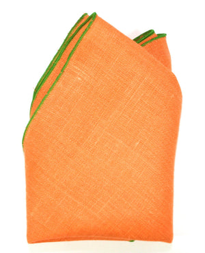 The André Benoît Linen Pocket Square - Tangerine/Green