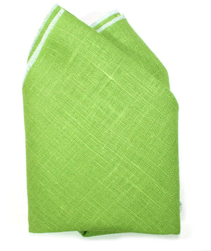 Ella Bing Spring 14 Pocket Squares The Issac Jean Linen Pocket Square - Lime Green/White