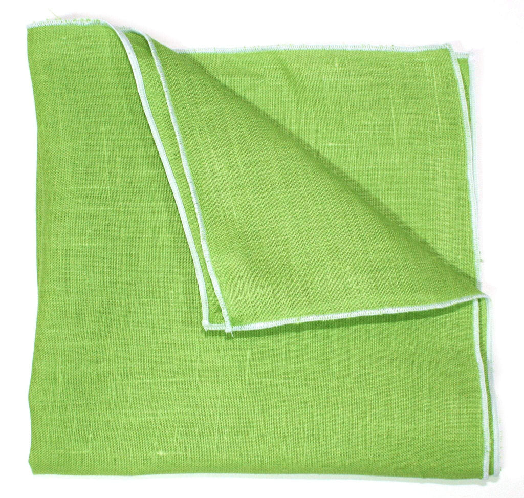 The Issac Jean Linen Pocket Square - Lime Green/White