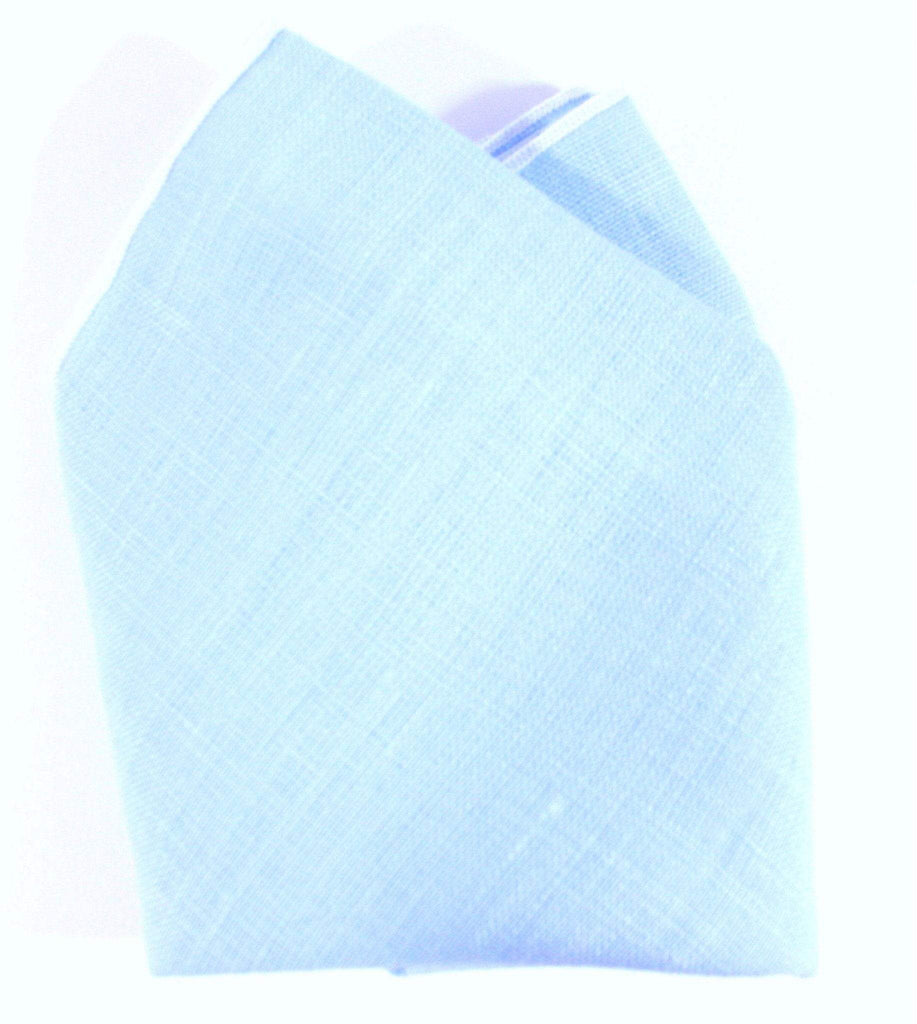 The William Victor Linen Pocket Square - Light Blue/White