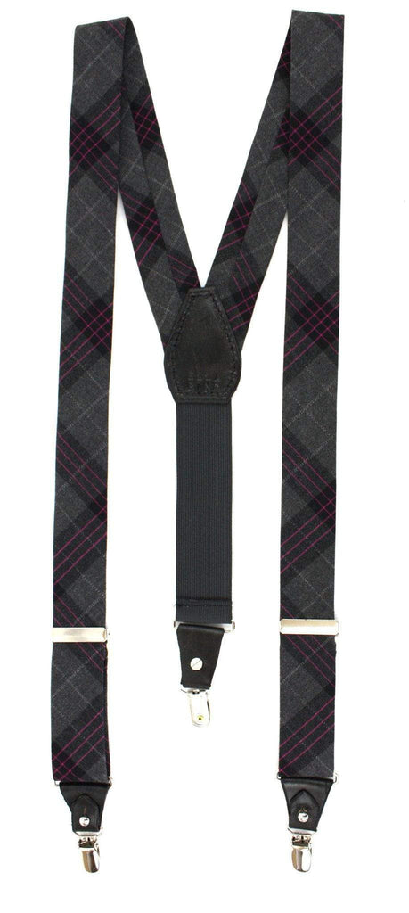 The Shep Bogart Suspenders - Gray and Black Prince of Wales