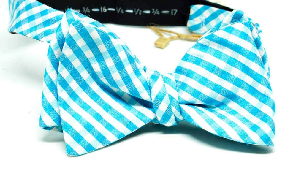 Teal Silk Check Bow Tie