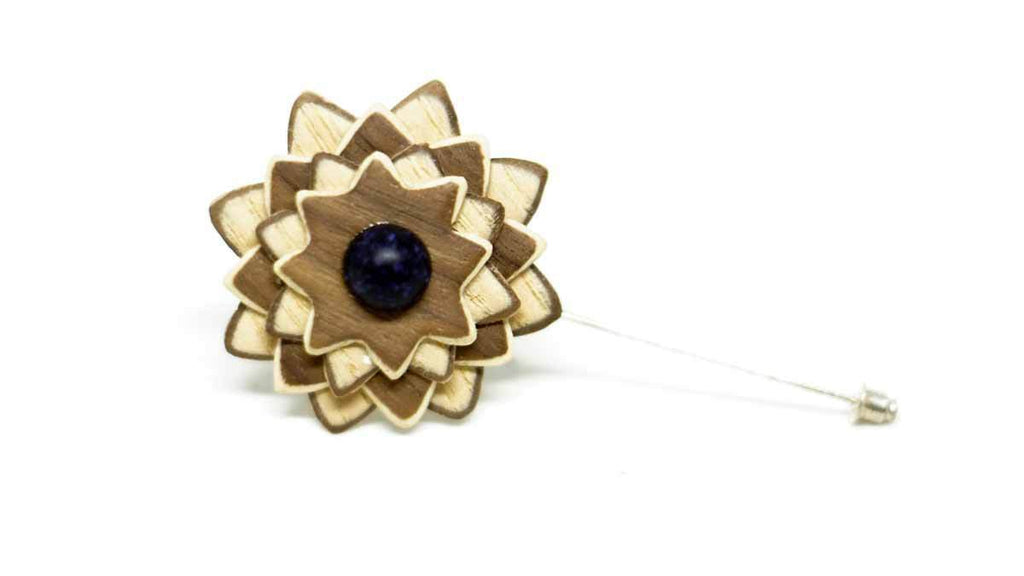 Wood Lapel Flower No. 019