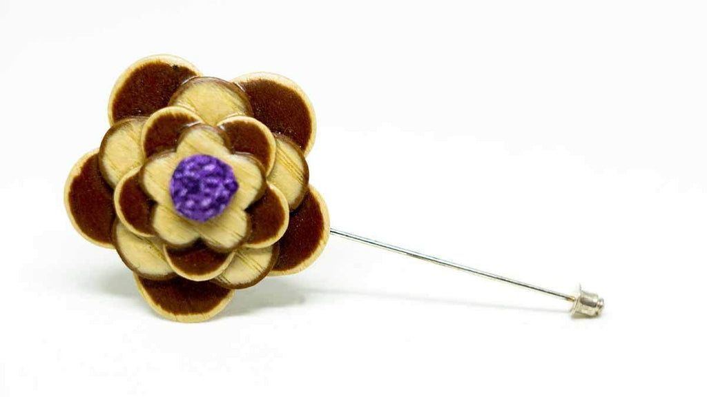 Wood Lapel Flower No. 023