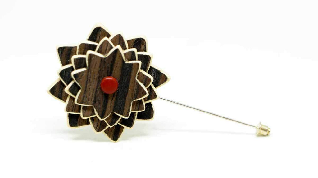 Wood Lapel Flower No. 024
