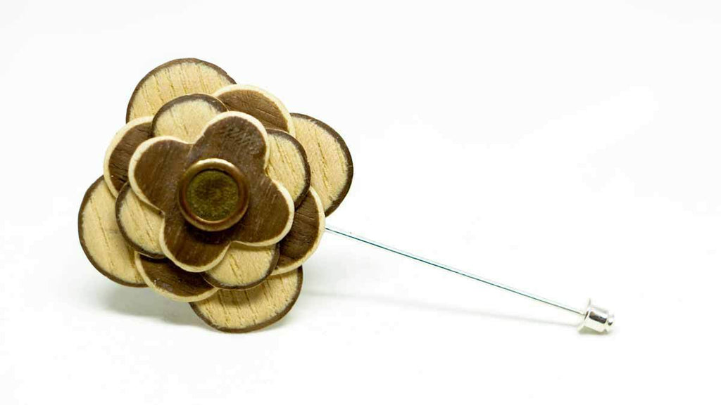 Wood Lapel Flower No. 025