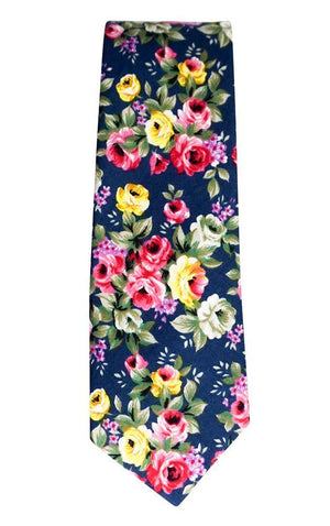 Miko/Ella Bing Cotton Necktie Navy Floral Cotton Necktie No. 2124