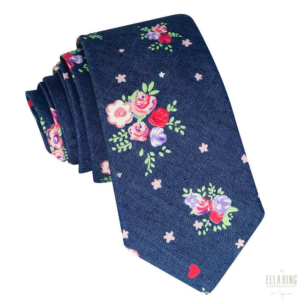 Navy Floral Cotton Necktie No. 310