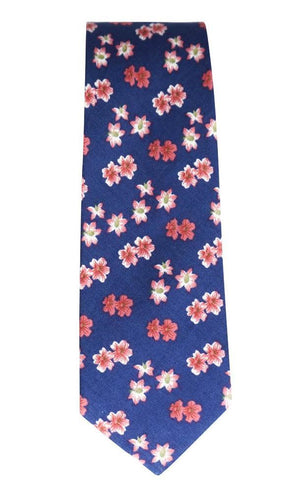 Miko/Ella Bing Cotton Necktie Navy & Red Floral Cotton Necktie No. 2132