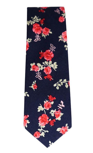 Miko/Ella Bing Cotton Necktie Navy & Red Floral Cotton Necktie No. 2137