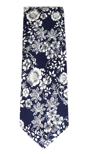 Miko/Ella Bing Cotton Necktie Navy & White Floral Cotton Necktie No. 2130