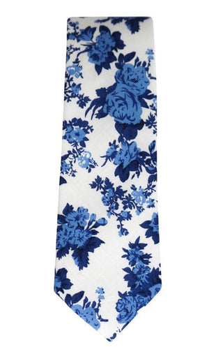 Miko/Ella Bing Cotton Necktie White & Blue Floral Cotton Necktie No. 2135