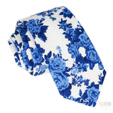 White & Blue Floral Necktie No. 303