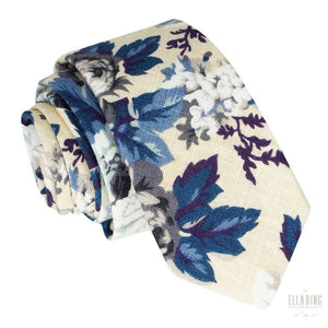 White Floral Cotton Necktie No. 317