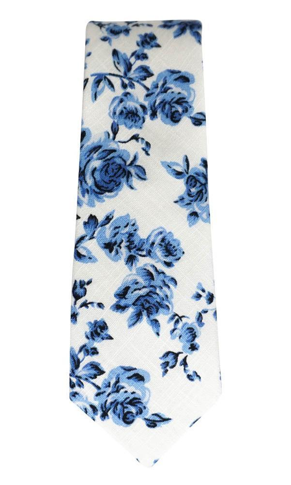 White & Navy Floral Cotton Necktie No. 2126