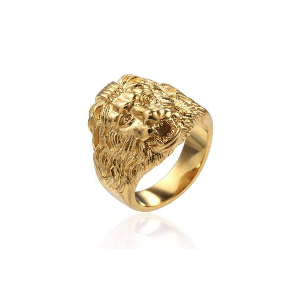 SEVEN50 - 316L Stainless Steel Gold Lion Head Rings