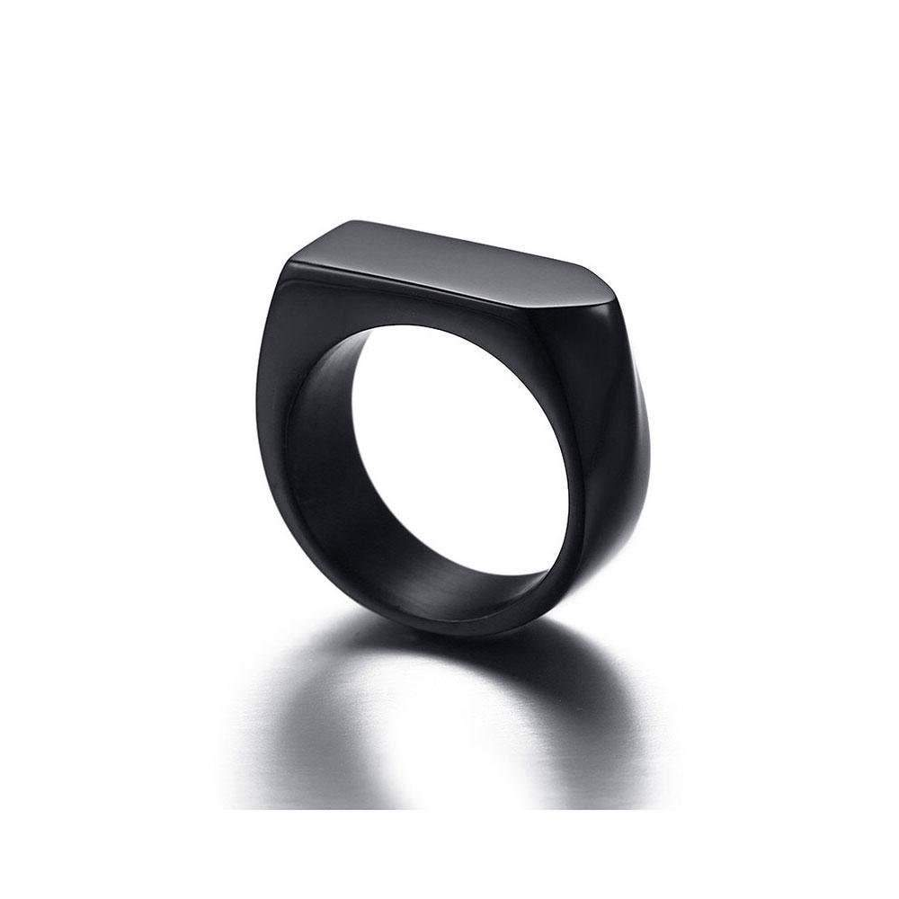SEVEN50 - Stainless Steel High Polish Black or White Square Signet band Ring