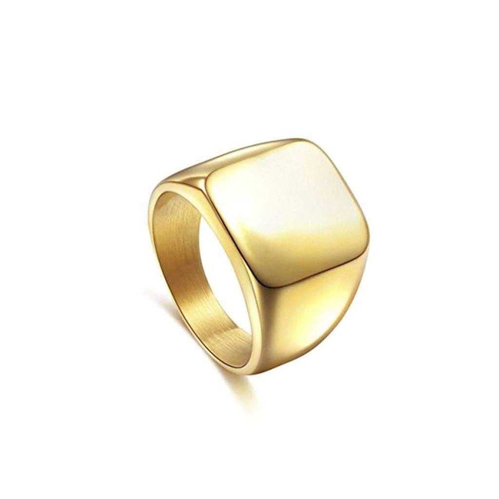 SEVEN50 - Stainless Steel High Polish Ip Gold Plated Yellow Square Signet Ring