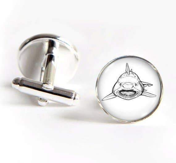 Unique Art Pendants - Shark Silver Cufflinks