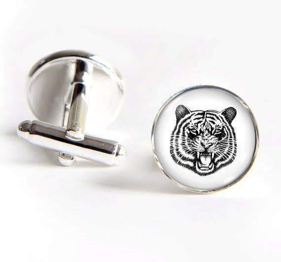 Unique Art Pendants - Tiger Silver Cufflinks