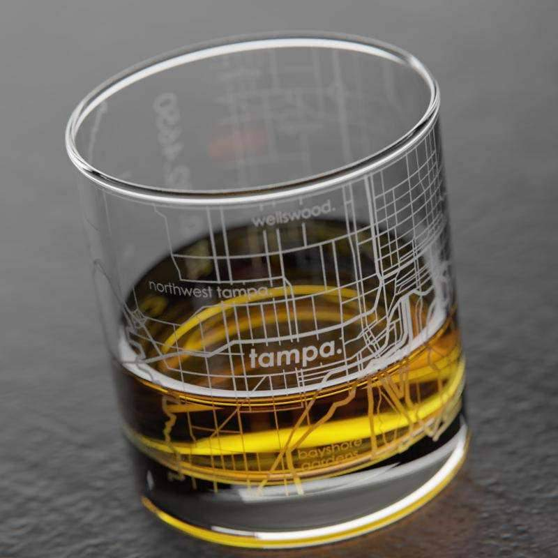 Well Told - Tampa Bay FL Map Rocks Whiskey Glass