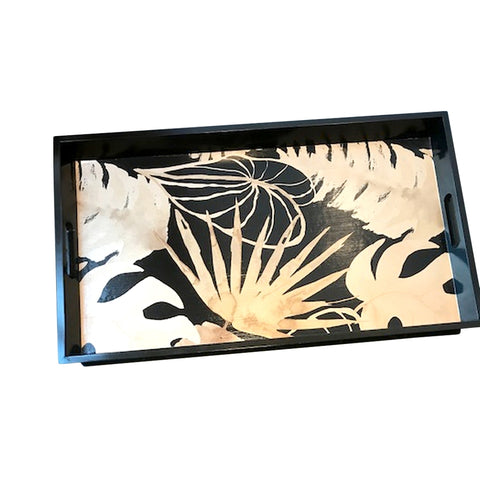 houten dienblad zwart met palmleaves goud Hollywood Regency