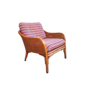 Vintage Boho bamboe riet rotan fauteuil - RELIVING
