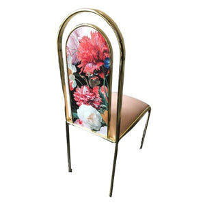 messing stoel velvet pink & floral Hollywood Regency - RELIVING