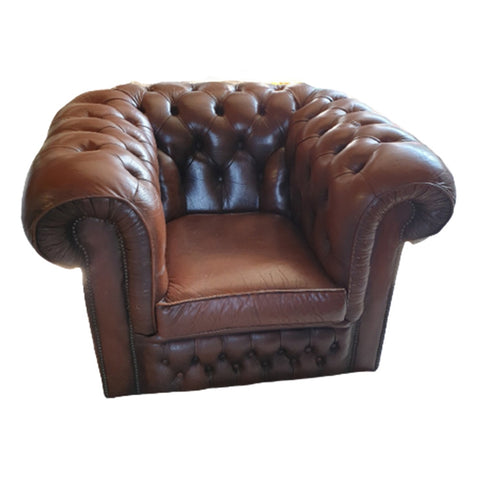 Lederen Vintage Stoel (Chesterfield Look)