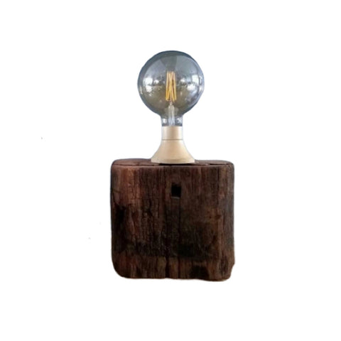 Vintage stoere tafellamp, stoere hout met edison bulb - RELIVING
