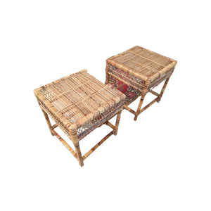 Vintage Boho Rattan Side Tables
