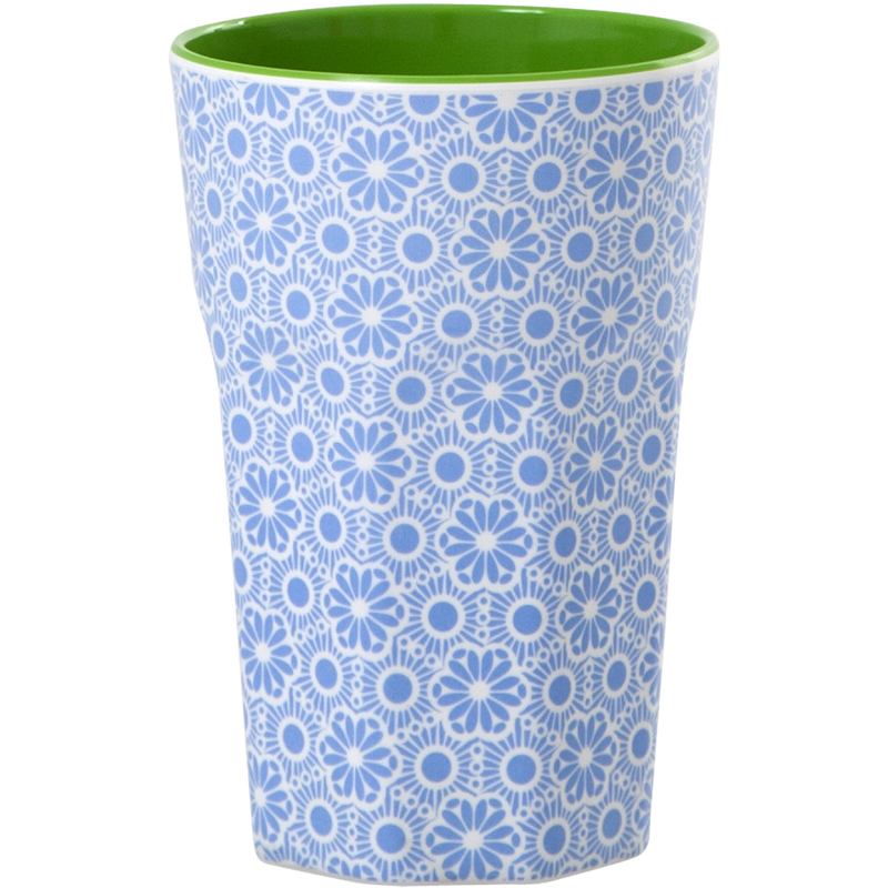 Melamine cup Moroccan Print Blue and White — Tall