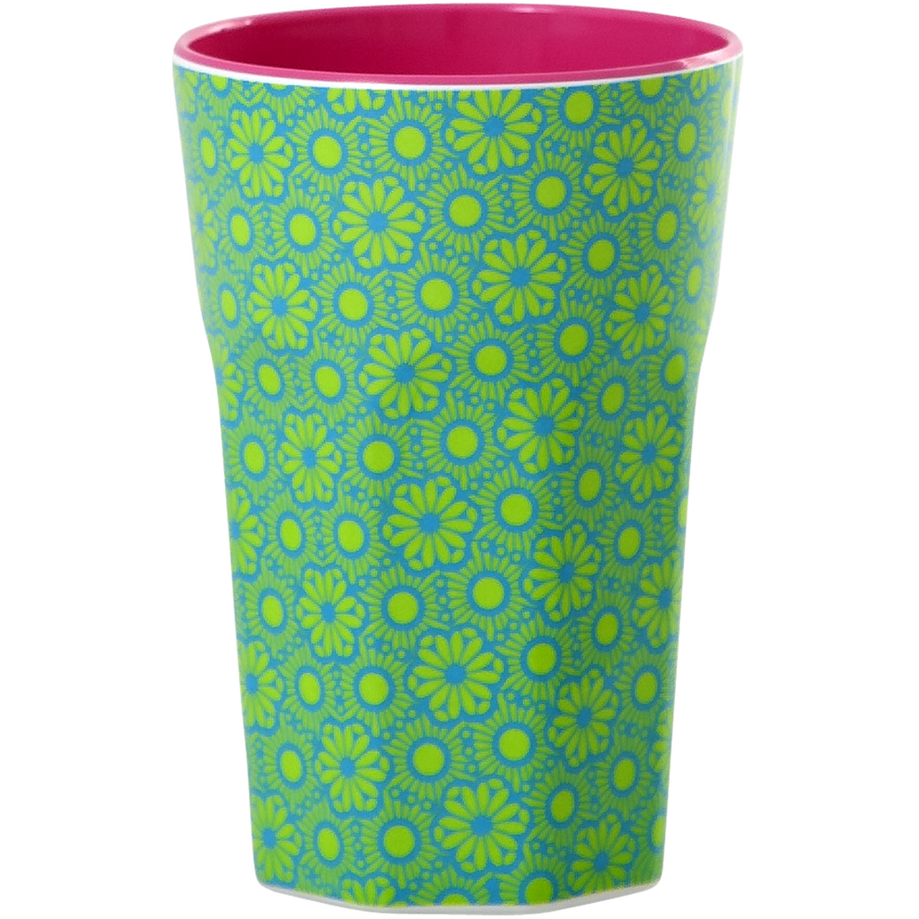 Melamine cup Moroccan Print Green and Blue Tall