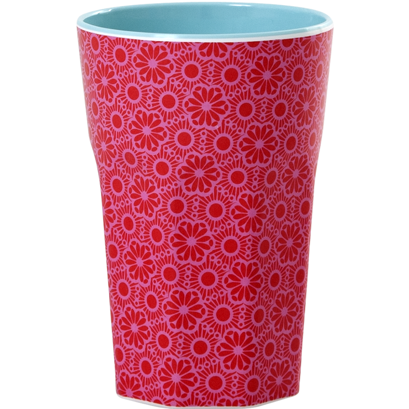 Melamine cup Moroccan Print Pink and Red Tall