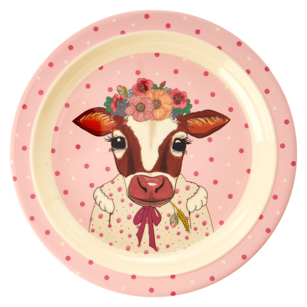 Farm kids lunch plate Pink