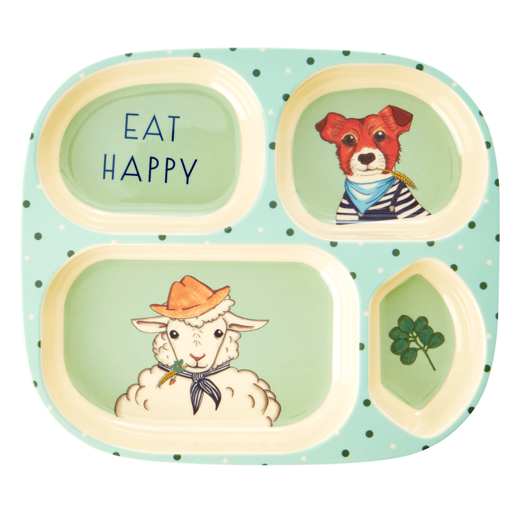 Kids melamine farm animal dinner set (green)